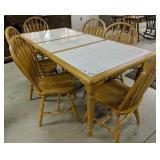 Dinaire Tile Top Oak Table,1 Leaf,  6 Chairs