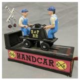 B&p Rr Cast Iron Railroad Hand Car Mechanical Bank