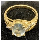 14k Gold Diamond & Aquamarine Ring 2.3 Dwt