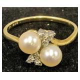 14k Gold Diamond Pearl Ring 1.3 Dwt
