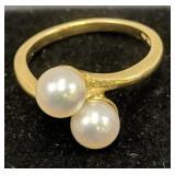 14k Gold Pearl Ring 2 Dwt