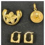 14k Gold Flower, Sombrero Pendant, Earrings 5.2