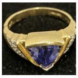 14k Gold Le Vian Tanzanite Pave Diamond Ring 3.7
