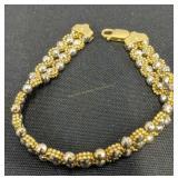"""14k White & Yellow Gold 7"""" Bracelet 9 Dwt"""