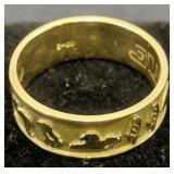 10k Gold Anilmal Symbols Band Ring 3.6 Dwt