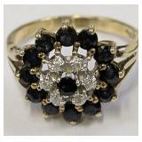 10k Gold Diamond Sapphire Ring 2.3 Dwt