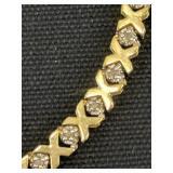 "10k Gold Xo Diamond 7"" Bracelet 3.2 Dwt"