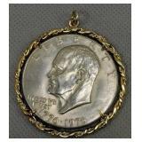 Eisenhower Bicentennial Dollar Mounted In Pendant