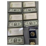 5 Uncirculated $2 Notes, 1933 Tribute Proof $20