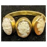 18k Gold Victorian Cameo Ring 1.2 Dwt