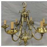 6 Light Brass Chandelier 23 In Wide