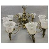 8 Light Chandelier Etched Shades 30 In Wide