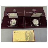 2 Thomas Jefferson 250th Anniv Silver Dollars