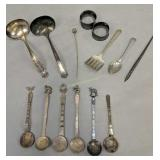 Silver Plate Ladles, Ball And Claw Hat Pin,