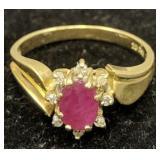 14k Gold Diamond Ruby Ring 1.9 Dwt