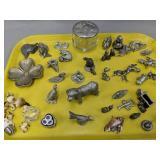 Tray Lot Of Pewter Miniature Animal Figurines Etc