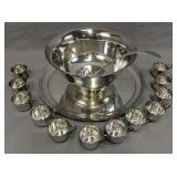 Sterling Silver Punch Bowl, Under Plate, Cups