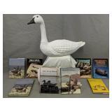 8 Decoy Books,4 Signed, Fiber Goose Decoy