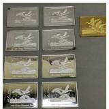 8 Waterfowl Stamp .999 Fine Silver Bars, 1 Gold