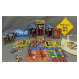 Shelf Lot Of Pez Dispensers. Tote, Signs, Giant