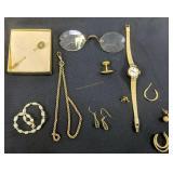 Gold Filled Etc. Watch Fob, Diamond Stick Pin,