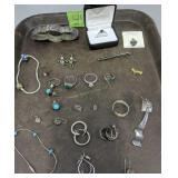 Tray Lot Sterling Silver Jewelry. Rings, Bracelets