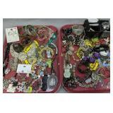 2 Trays Costume Jewelry. Bracelets, Watches,