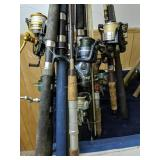 Lot Of Fishing Rods And Reels. Shakespeare,