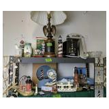 Shelf Lot. Eagle Lamp, Lighthouses Etc
