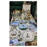 Table Lot Of Lighthouse Plates Etc