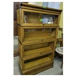 Four-stack Oak Barrister Bookcase With Books