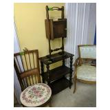 Armchair, Side Chair, 3 Shelf Stand, Smoking Stand