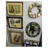 6 Wall Decor, Prints, Feather Painting, Mirror,