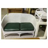 Wicker Loveseat, Mirror, End Table, Stand