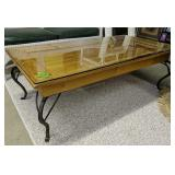 Glass Top Wrought Iron Coffee Table 24.25x48x16 In