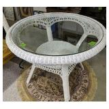 Round Wicker Glass Top Table 39x29 In