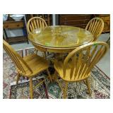 Glass Top Oak Table, Four Chairs