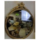 30-in Wide Round Gilt Mirror, Plaster Loss