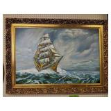 H. Costalas Ship Oil Painting 37x34-in
