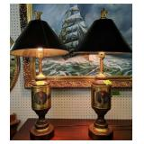 """Pair Of Rustic Lantern Style 34"""" Table Lamps"""
