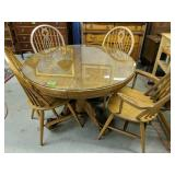 """45"""" Glass Top Round Oak Table Ball Claw Feet,"""
