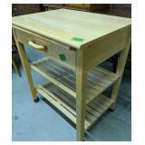 Rolling Blonde Wood Kitchen Cart 29x22x34 In