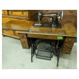 Singer Sewing Machine With Treadle Base Cabinet