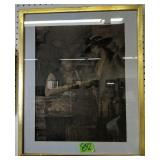 M. Hyde Framed Art Pawn Broker Loans Old Gold