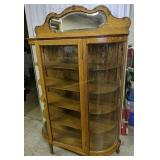 Oak Bow Front Cabinet 46x15x72 Inches Tall