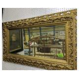 "Beveled Glass Ornate Gold Mirror 52x30"""