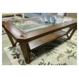 Beveled Glass Top Coffee Table 28x50x17-in