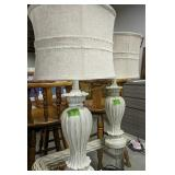 """Pair Of Decorator Table Lamps Linen Shades 28.5"""""""