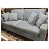 "Clean Kfi Sky Blue Microfiber Couch 85x37x38"" Tall"