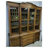 2 Part Cherry China Cabinet 65x18x77-in